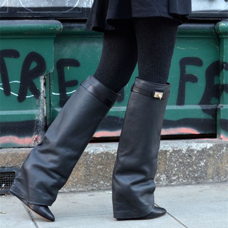 Black Leather Shark Lock Tail Boots Buckle Wedge Knee-high Boots Women Fold Over Leather Boots