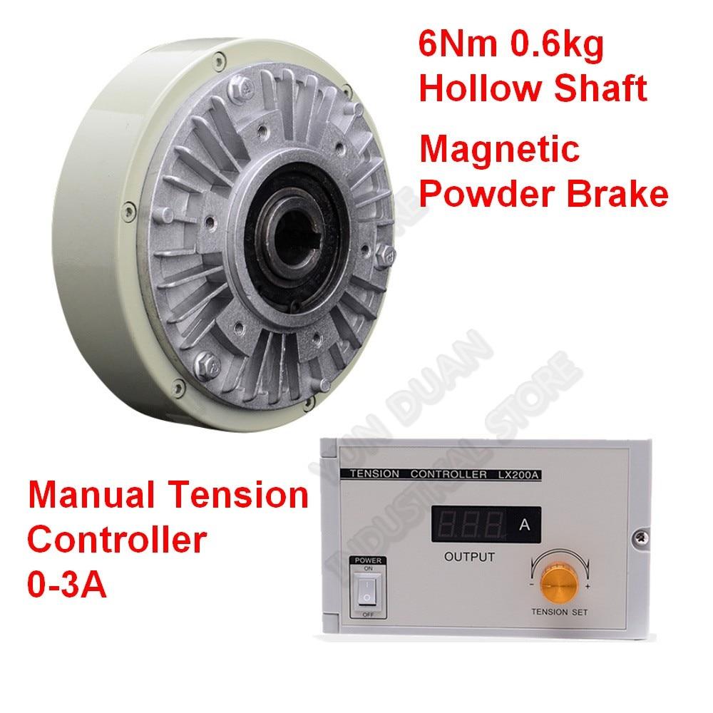 6Nm 0 6kg DC 24V Hollow Shaft Magnetic Powder Brake Unwinding Manual Tension Controller Kits for