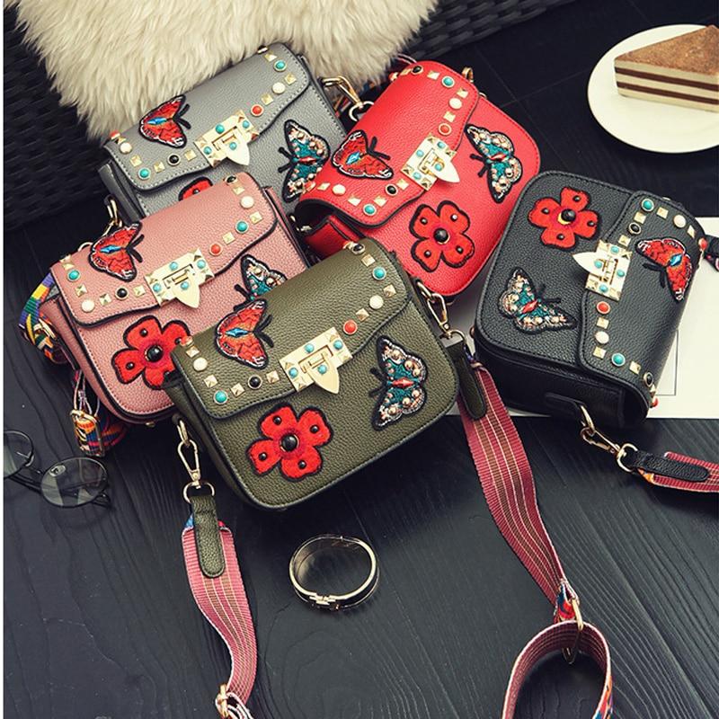 Handbags 2017 summer diamond rivets small square bag shoulder embroidery bag messenger bag trend packet shoulder strap color 158