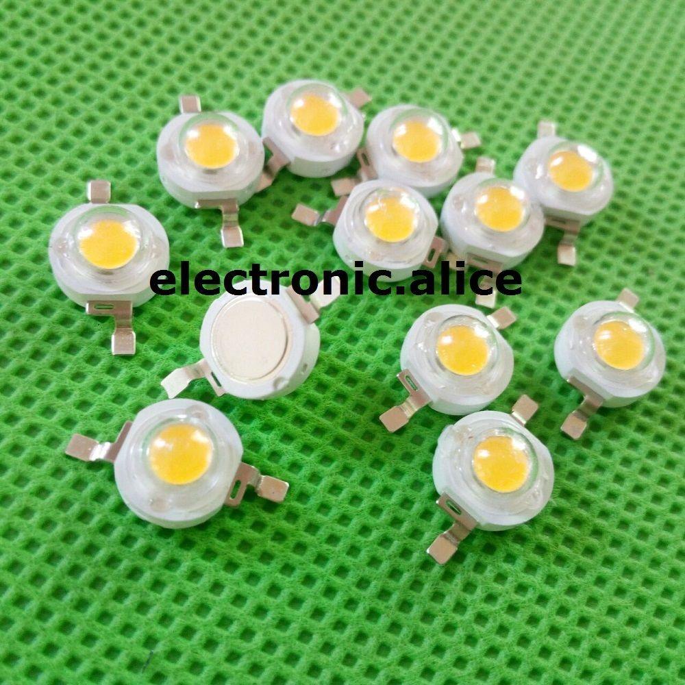 10 50 100 1000 шт. 1 Вт 3 Вт высокое Мощность теплый белый лампа Чип DIY