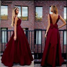 Xnxee Elegant Dress Women Sexy Sleeveless Solid Long Maxi Evening Party Backless Big Bows Fall Fashion