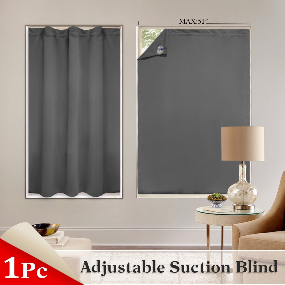 1 Panel Blinds Window Cover Portable Adjustable Travel Blackout Curtains Light Blocking Stickers with Suction Cups for Bath