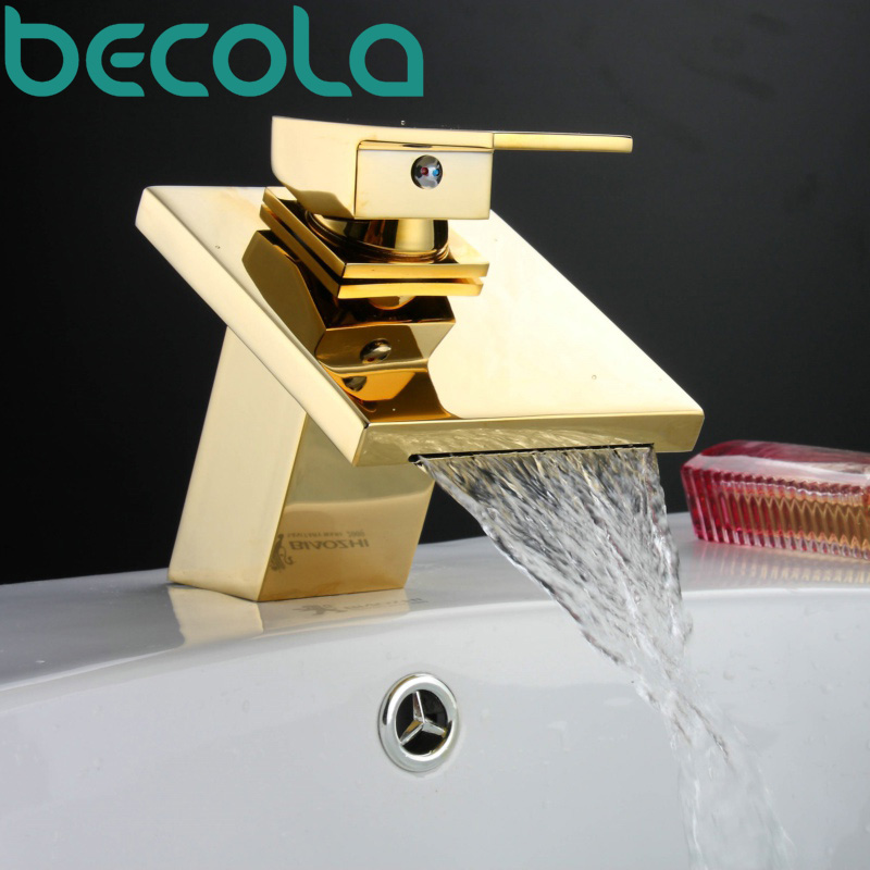 BECOLA Basin Faucet Luxury Bathroom Golden Mixer Single Handle Single Hole Deck Mounted Waterfall Tap LT-509 Free shipping becola basin faucet luxury bathroom golden mixer single handle single hole deck mounted waterfall tap lt 509 free shipping