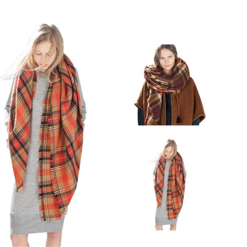 Superior 2016 Winter Autumn Fashion Scarf Wrap Shawl Plaid Cozy Checked Lady Men Women Blanket Oversized