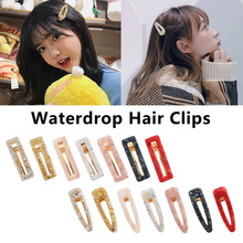 Vintage Hair Clip Water drop Rectangle Hair Pins Accessories Korea Hollow Geometric Acrylic Women Girls Hairpins stylish rectangle acrylic hollow out bracelet for women