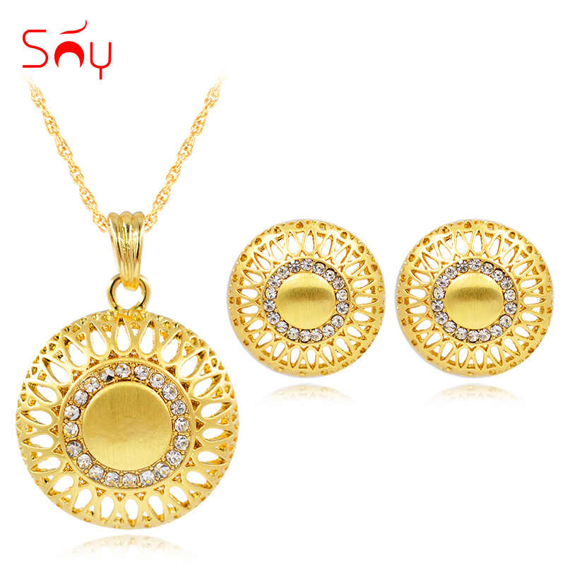 Sunny Jewelry Maxi Dubai Jewelry Sets For Women Necklace Earrings Pendant Alloy Zircon Round Flower Luxury Dubai Jewelry Gift