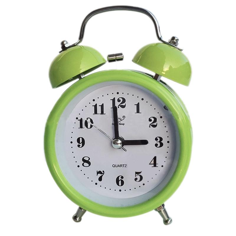 portabel mode klasik samping tempat tidur malam diam bel jam alarm ganda gerakan kuarsa kualitas terbaik
