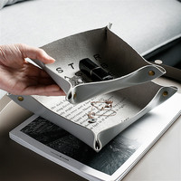 Квадратный ПУ лоток для хранения ключей, держатель для монет, коробка для хранения мелочей, тарелка, поддон для дома, офиса, стола, рабочего с...