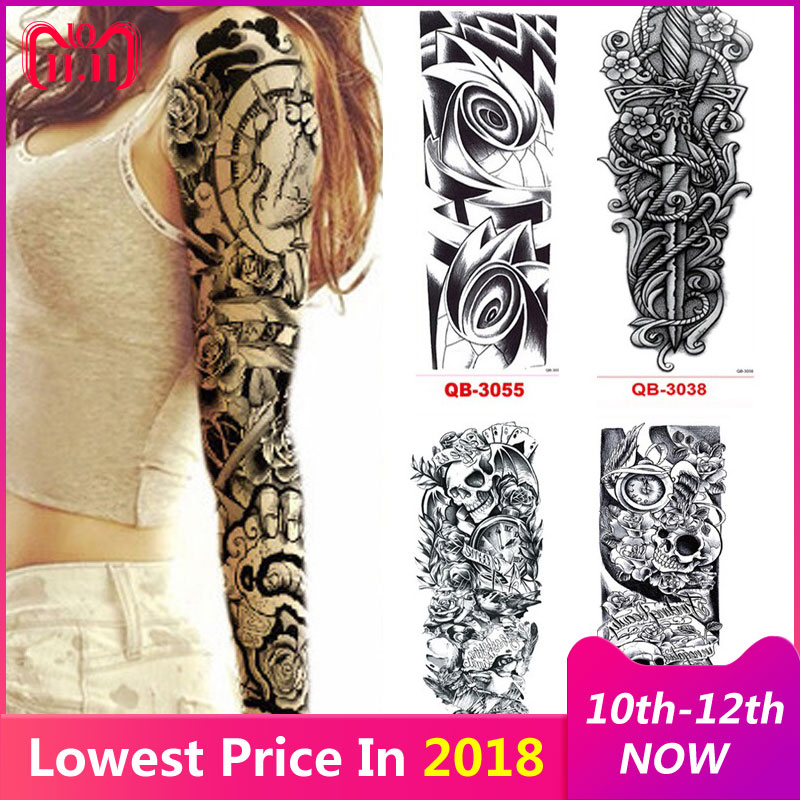 3Pcs Temporary Tattoo Sleeve Waterproof Tattoos for Men Women Transfer Stickers Flash Tattoos Metallic Stickers for Body Art willett m 1000 tattoos a sourcebook of designs for body decoration