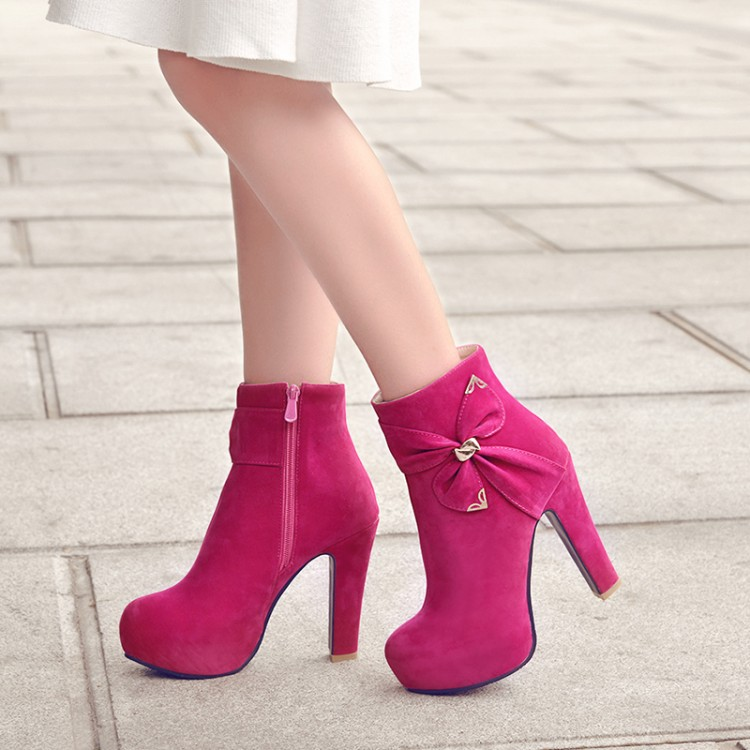 Big Size 11 12 13 14        Maam Coarse heel Short boots     Pure color   Bowknot   boot barre     Suede high-heeled bootsBig Size 11 12 13 14        Maam Coarse heel Short boots     Pure color   Bowknot   boot barre     Suede high-heeled boots
