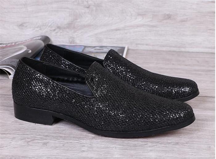 De Bout Paillettes Britannique À Noir Slip Sélections Casual Les Style Pointu argent Marée Chaussures Mode Noir Nouveau Hommes on Toutes SdBqpB