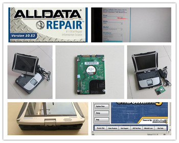 newest v10.53 alldata with laptop cf19 touch screen 3g and mitchell on demand auto repair software 2in1 hdd 1tb win7