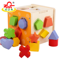 3D Baby Children Toy Early Learning Geometric Shape Wooden Block Puzzles Toddler Sew On Buttons Toys