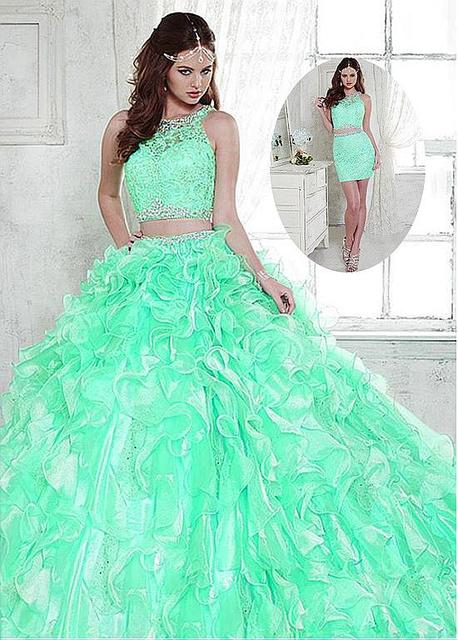 67ffd6d2148 2019 New Gorgeous Two piece 2 In 1 Ball Gown Quinceanera Dresses With  Detachable Skirt Beaded Lace Appliques Prom Gowns 3 Pieces