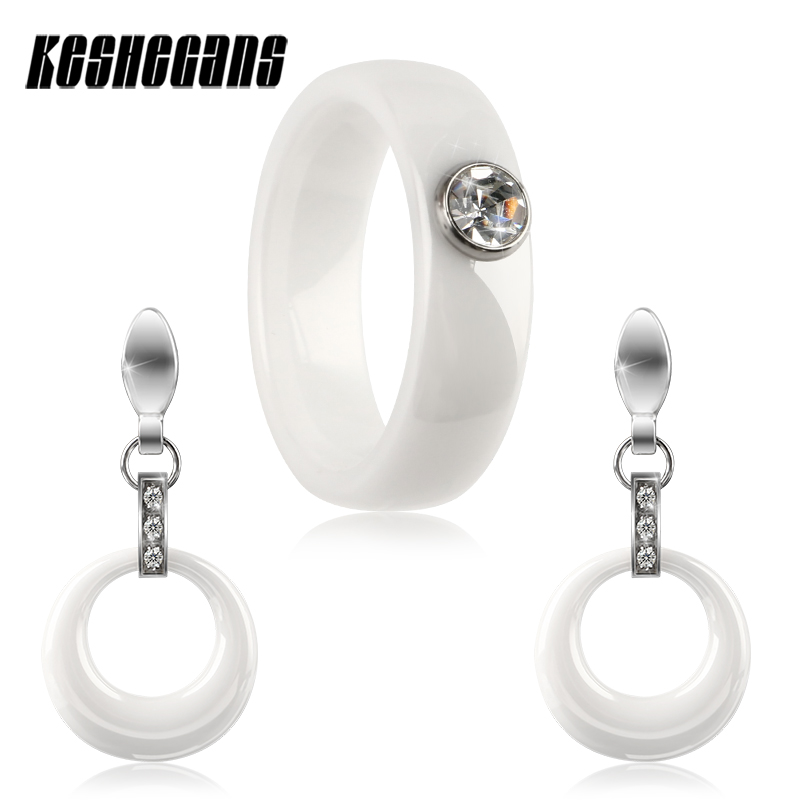 2018 Ceramic Jewelry Set Elegant White Color Sets Hollow Round Drop Earrings And 6mm Wide Rings With Shining Crystal Women Gifts
