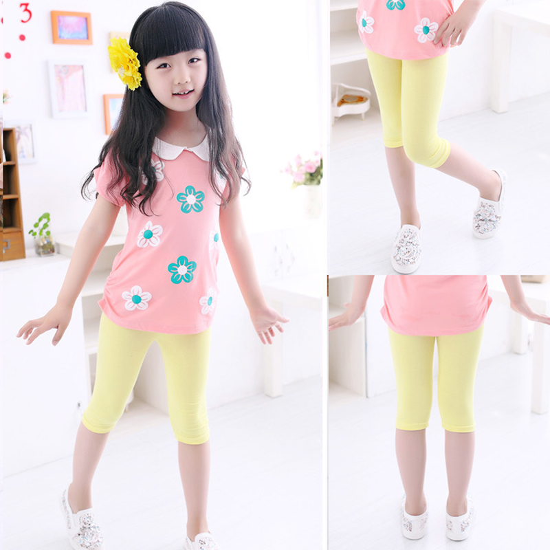 3-10years Girls Knee Length Kid Five Pants Candy Color Children Cropped Clothing Spring-Summer All-matches Bottoms Leggings 3