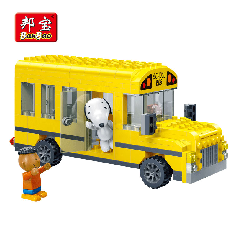 BanBao 7506 Hot IP Snoopy Peanuts DIY School Bus Cars Plastic Building Blocks Educational Models DIY Bricks compatible all Brand(China)