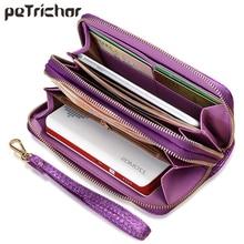Новый Винтаж двойная молния браслет женские кошельки для женщин держатель для карт дамы сцепления кошелек карман для сотового телефона большой ёмкость