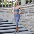 Mujeres Viste la Nueva Llegada 2016 Gris Sin Tirantes Atractivo Del Vendaje de Dos Piezas Conjunto Bustier Sexy Clubwear