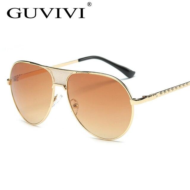 2017 GUVIVI Mode Surdimensionné Miroir Hommes Avaitor lunettes de Soleil  Femmes Pilote Designer Gradient Vintage Lunettes c261408d44ae
