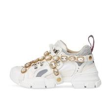 Повседневное белый кристалл туфли на платформе Брендовые женские модные осень, для женщин дышащая со стразами обувь