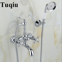 Bathtub Faucet Brass Chrome Silver Wall Mounted Rain Shower Faucet Round Hand Held 2 Handle Luxury