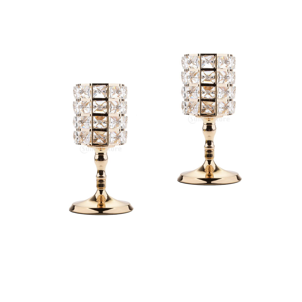 2 Pieces Romantic Sparkle Crystal Beads Votive Tealight Candle Holders Wedding Party Centerpieces 8.66''H