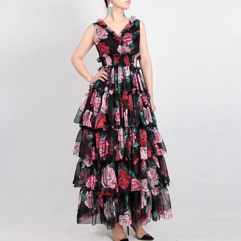 Rouge RoosaRosee nouvelle mode Designer robe de piste été femmes v cou sans manches Rose imprimer taille élastique élégante bohème robe-in Robes from Mode Femme et Accessoires    1