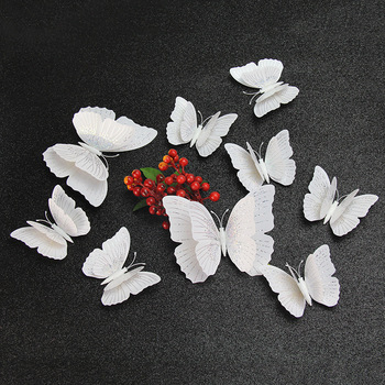12Pcs Ambilight double-layer 3D Butterfly Wall Sticker for wedding decoration room Butterflies wall decor Fridge Magnet stickers - discount item  37% OFF Home Decor