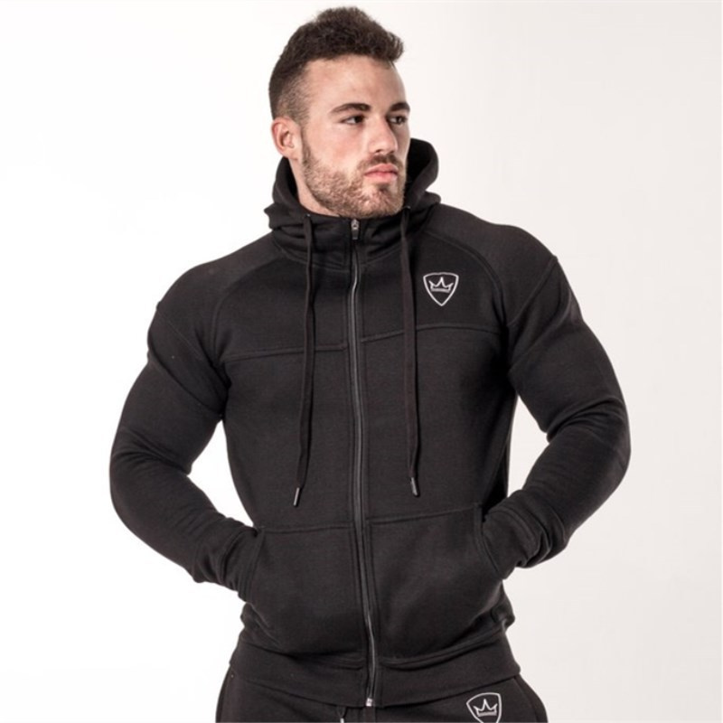 Autumn Winter New Mens Zipper Thick Hoodies Fashion Casual Male Gyms Fitness Bodybuilding Cotton Sportswear Men Brand Clothing