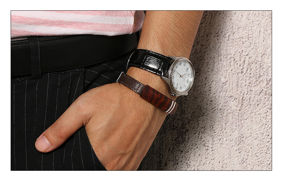 Meaeguet Brown Genuine Leather Charm Bracelets Men Top Quality Rosewood Plaque Bracelet Stainless Steel Jewelry 13mm Wide (2)