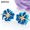 KOVTIA Blue Rhinestone Clip Earrings Without Piercing Flower Shape Jewelry New Arrival Romantic Ear Cuff Party Jewelry B1568