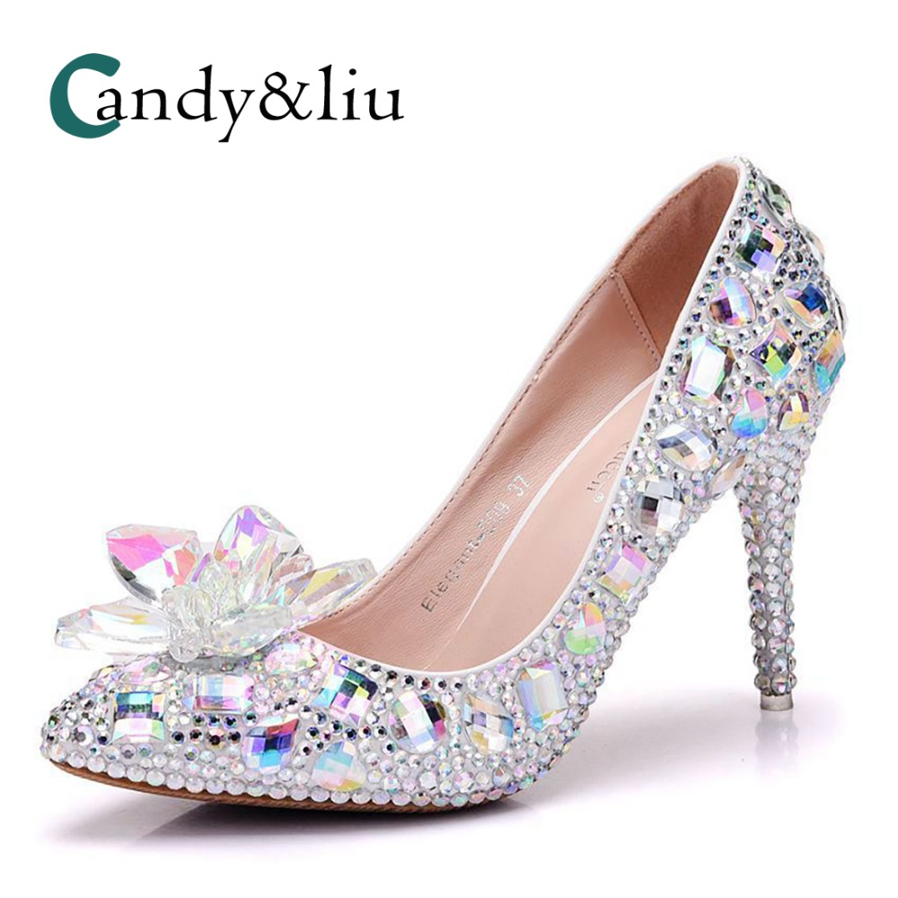 9 cm single shoe, crystal glass flower high heel shoes, single shoe, female water drill point, single shoe, foreign trade large