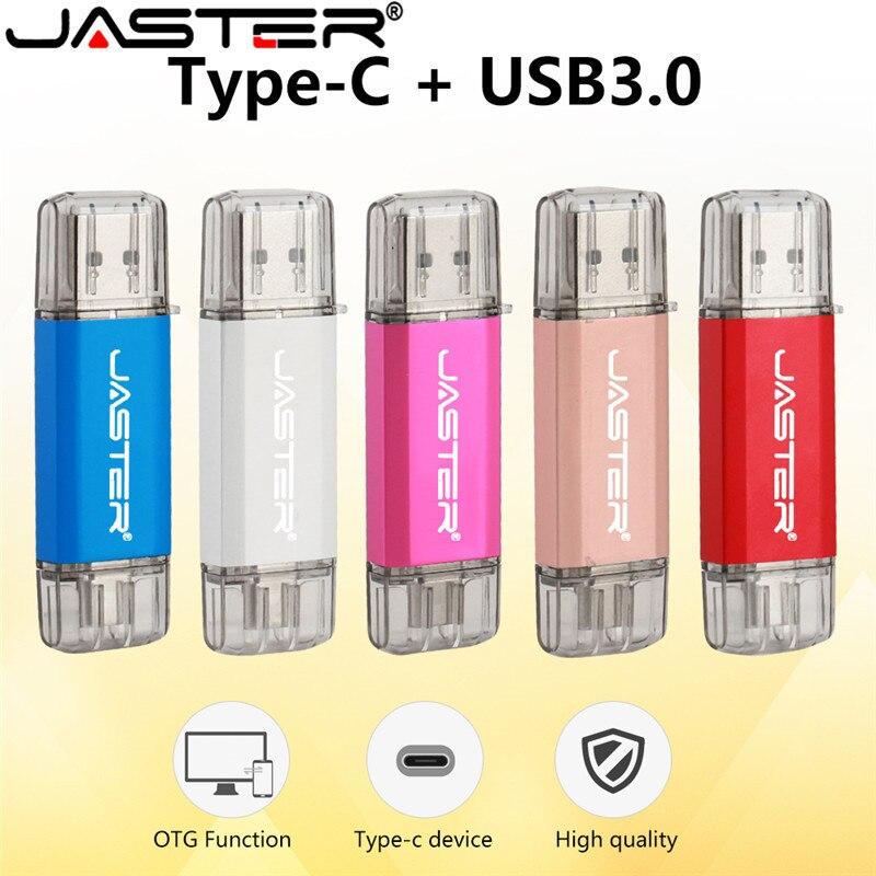 JASTER USB 3.0 Type-C OTG USB Flash Drive 32GB 16GB Pen Drive Dual Double Plug For Cumputer / Smart Phone Memory Mini USB Stick