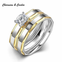 Design Stainless Steel Ring Sets Promise Wedding Engagement Rings For Men And Women Birthday Gifts