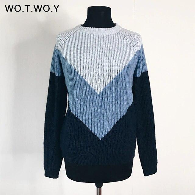 WOTWOY Herbst Winter Kontrast Farbe Frauen Pullover Casual Langarm Pullover Frauen Oansatz Gestrickte Tops Frauen Jumper Femme Weichen