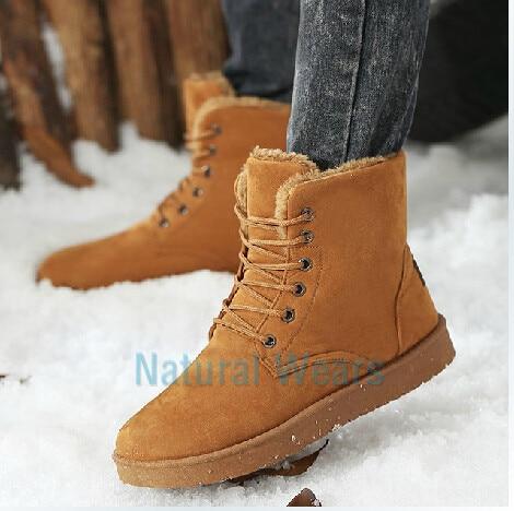 Korean Fashion Men's Warm Winter Snow Boots Male Shose Cotton ...