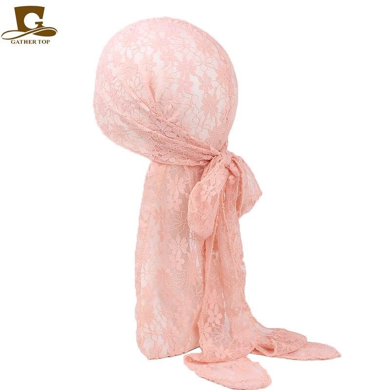 Fashion women girls Lace Doo Rags Durag du rag Head Wraps Turban Headband Skull Bandit Cap Hair Accessories hair Scarf chain