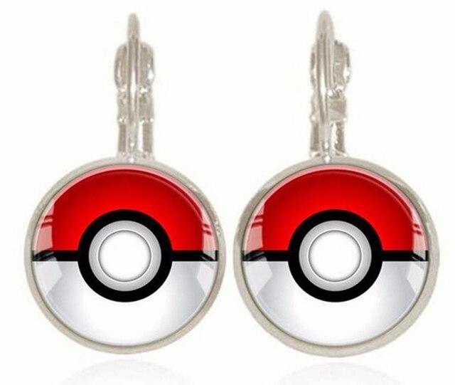 Cute Pokemon Pokeball Stud Earrings For Women Fashion Silver Plated Gl Cabochon Jewelry
