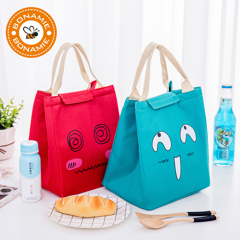 BONAMIE Cartoon Expression Cooler Bag Thermal Insulation Students Kids Food Picnic Lunch Bags Cute Waterproof Oxford Lunch Bag