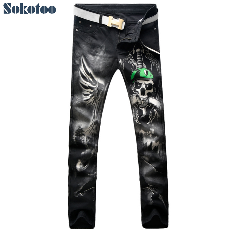 Sokotoo Men's fashion black skull snake sword 3D print jeans Casual colored pattern stretch denim pants