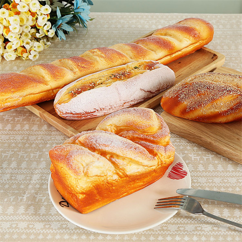 1 Piece Creative Artificial Breads PU Simulation Breads Dining table Decorations Store Hotel Bakery Fake Adorn Breads Ornament in Artificial Foods Vegetables from Home Garden