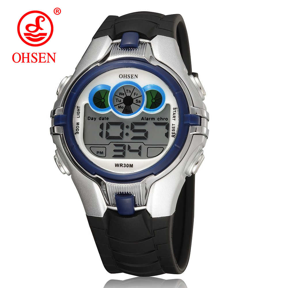OHSEN Brand Children Watches LED Digital Multifunctional Waterproof Wristwatches Outdoor Sports Watches for Kids Boy Girls Reloj