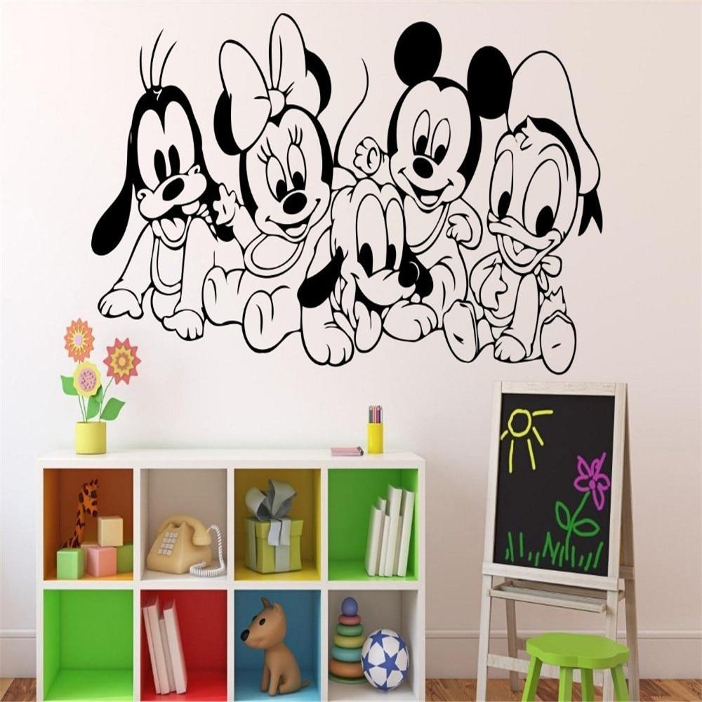 Kartun Bayi Karakter Mouse Vinyl Sticker Wall Art Decor Anak Kamar Ide Stiker Dinding Interior Di Stickers Dari Rumah Taman
