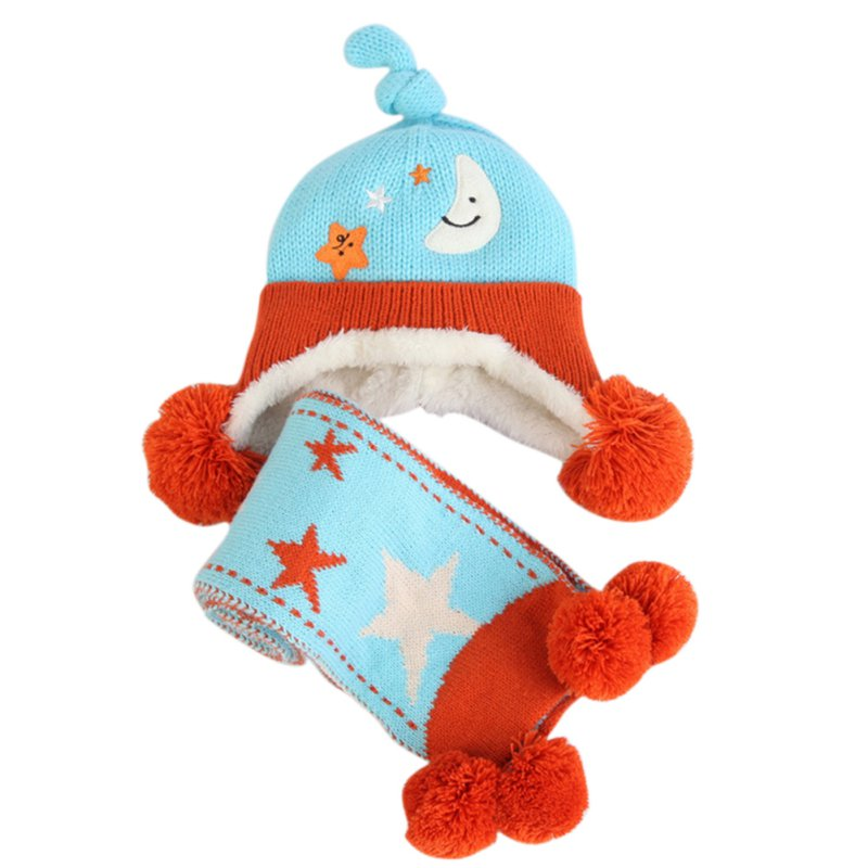 Winter Baby Crochet Hat Girl Boy Cap Scarf Infant knitted Warm Beanie Thick Hat Scarves Set