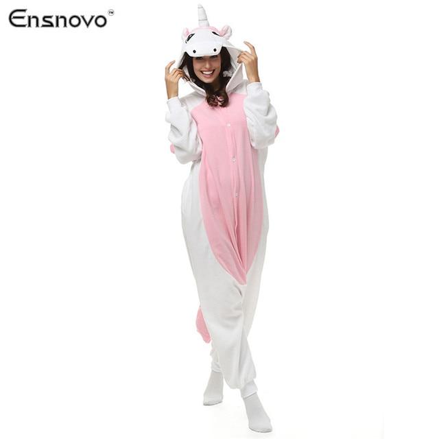 Ensnovo Women Onesies Hooded Pajamas Winter Sloth  Sleepwear Unicornio Bear Cartoon Adult Full Body Cosplay Costume Cute Pajamas