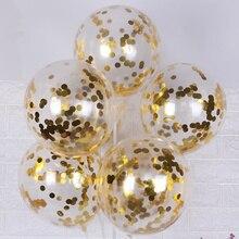 10 шт./лот, латексные воздушные шары с блестками и конфетти, романтическое свадебное украшение, золотые прозрачные вечерние украшения на день рождения, детский душ