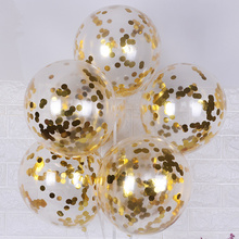 10pcs/lot Glitter Confetti Latex Balloons Romantic Wedding Decoration Gold Clear Birthday Party Decoration Kids Baby Shower