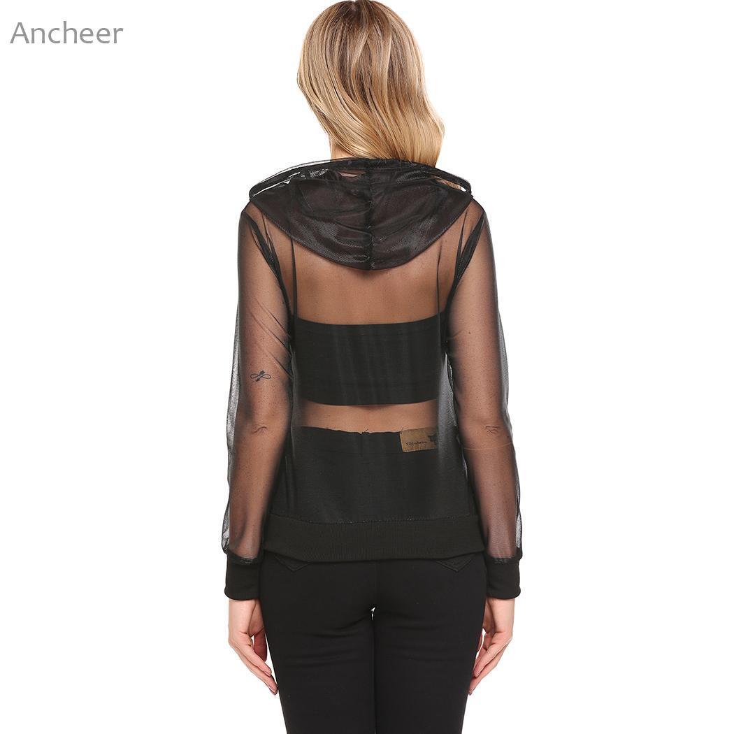 С капюшоном Для женщин сетки See Through Sheer Cover Up Топы