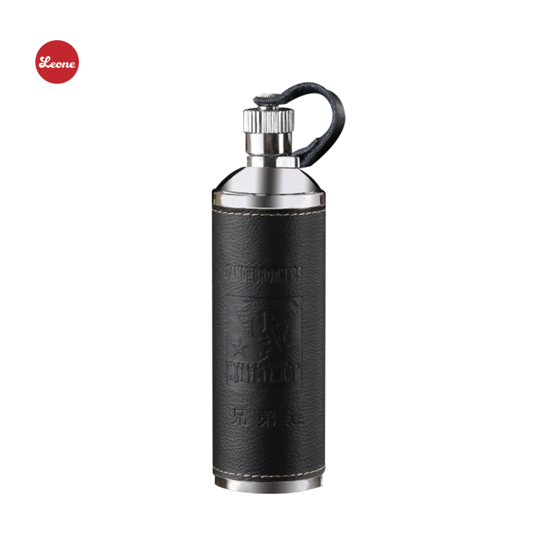 NEW 10oz Cylindrical leather 304 Stainless steel Hip Flask wine pot my Liquor Whisky Alcohol vodka Portable outdoor Flagon jug